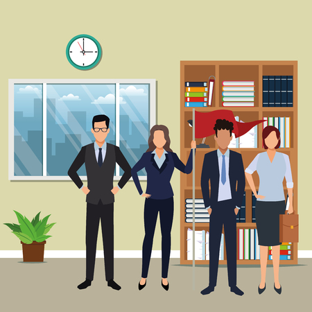 executive business coworkers with success flag cartoon  inside office building scenery vector illustration graphic design