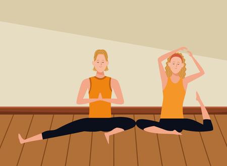 couple yoga poses avatars cartoon character headband indoor wooden floor vector illustration graphic design