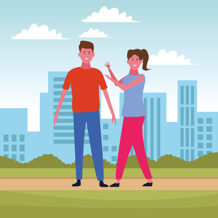 Couple boyfriend and girlfriend smiling cartoon at city park scenery vector illustration graphic design 向量圖像
