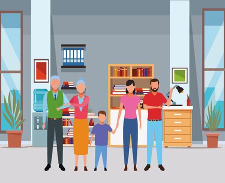 family avatar cartoon character grandparent child indoor house vector illustration graphic design Stock Illustratie