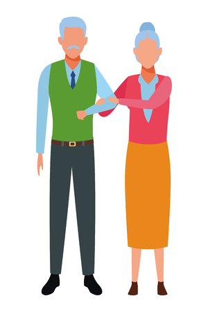 elderly couple avatar cartoon character vector illustration graphic design vector illustration graphic design