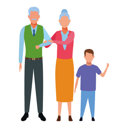 elderly couple with child avatar cartoon character vector illustration graphic design