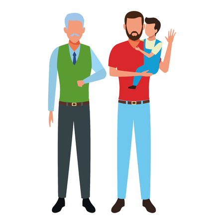 family avatar cartoon character grandfather father and son vector illustration graphic design Çizim