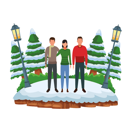 couple and man avatars wearing winter clothes and scarf at snowing park vector illustration graphic design