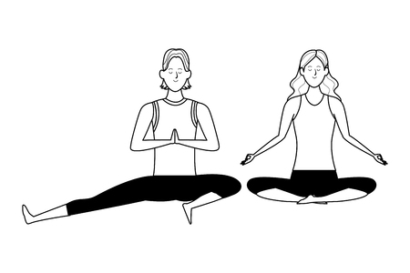 couple yoga poses avatars cartoon character black and white isolated vector illustration graphic design