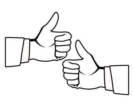 two thumbs up hands icons black and white vector illustration graphic design