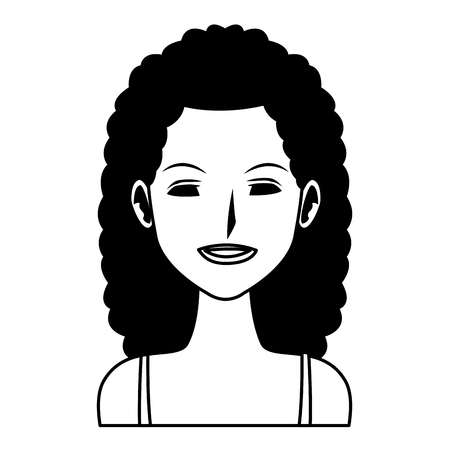 woman avatar cartoon character portrait black and white vector illustration graphic design