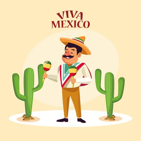 Viva Mexiko Karte Mexikaner in Wüstenparty Cartoons Vektor digitale Bildillustration