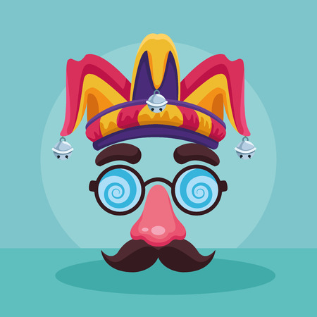 April fools joke cartoon glasses mustache and nose with jester hat vector illustration graphic design