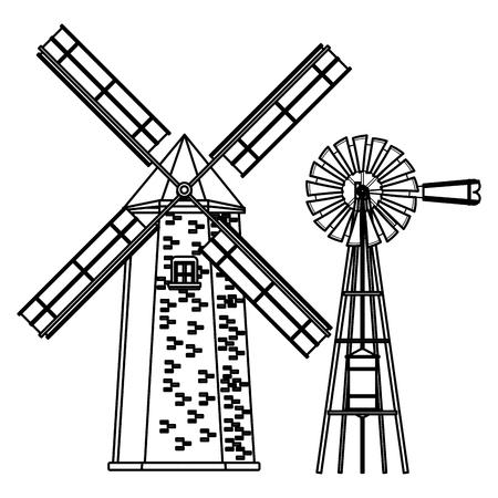 windmill and wind turbine icon cartoon black and white vector illustration graphic design Illusztráció