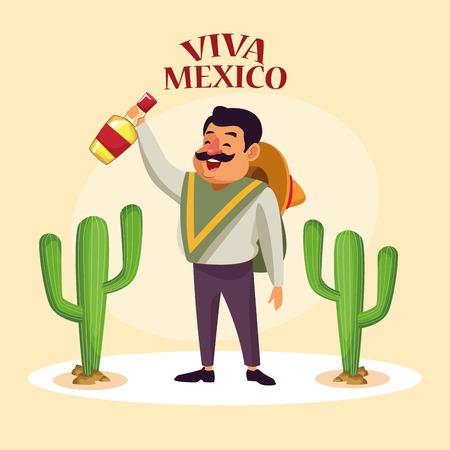 Viva mexico card mexican in desert party cartoons vector digital image illustration