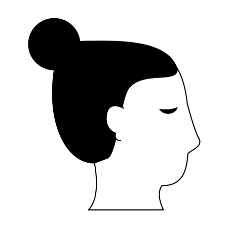Woman face head silhouette vector illustration graphic design Stock Illustratie