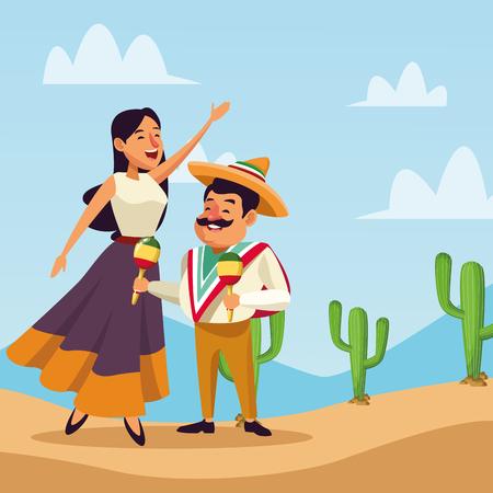 I messicani che celebrano nei cartoni animati del deserto vector l'illustrazione digitale dell'immagine