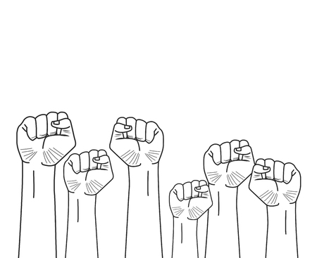 raised fists hands icon cartoon vector illustration graphic design