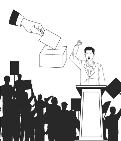 man making a speech with audience silhouette and hand voting avatar cartoon character vector illustration graphic design