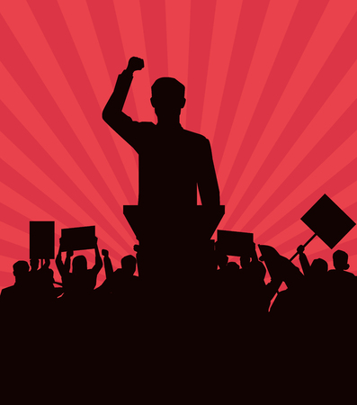 man making a speech and audience with signboard silhouette avatar cartoon character vector illustration graphic design Stock Illustratie