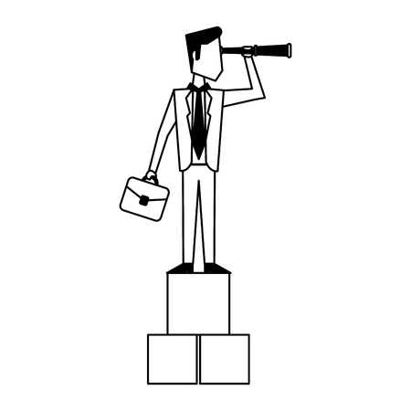 Executive businessman with briefcase and cubes avatar vector illustration graphic design