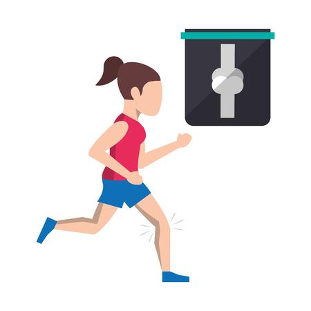 Fitness woman with injured leg cartoon vector illustration graphic design