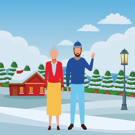old woman and young man avatar wearing winter clothes cartoon character snowing town lanscape vector illustration graphic design