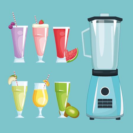 smoothies and mixer icon cartoon vector illustration graphic design  イラスト・ベクター素材