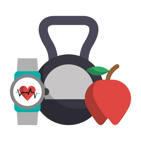 Kettlebell apple and fitness smartwatch vector illustration graphic design
