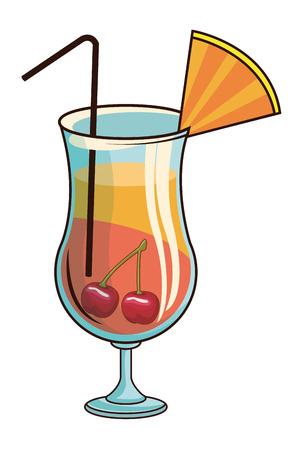 glass with cocktail icon cartoon vector illustration graphic design  イラスト・ベクター素材