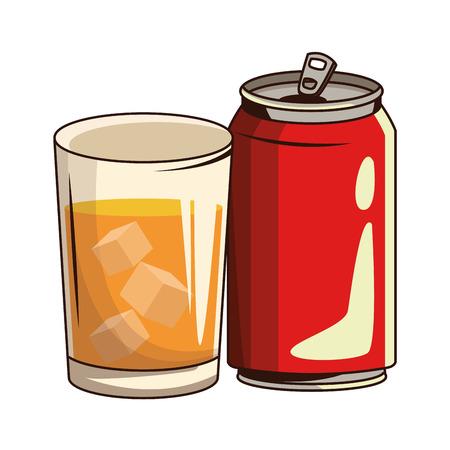 Vaso con bebida y refresco icono de dibujos animados ilustración vectorial diseño gráfico Ilustración de vector