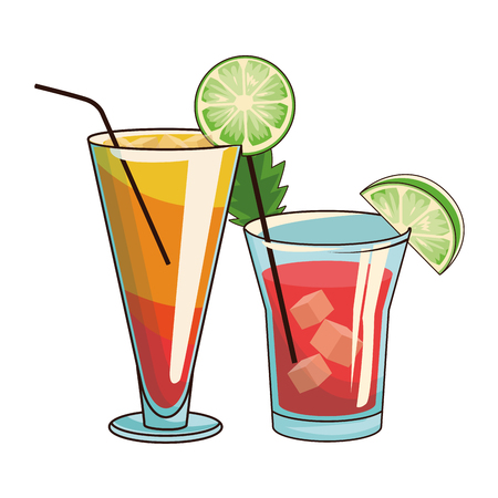 glasses with cocktail icon cartoon vector illustration graphic design Stock Illustratie