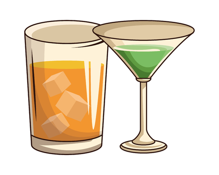 glasses with drink icon cartoon vector illustration graphic design