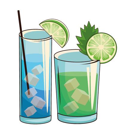 glasses with cocktail icon cartoon vector illustration graphic design  イラスト・ベクター素材