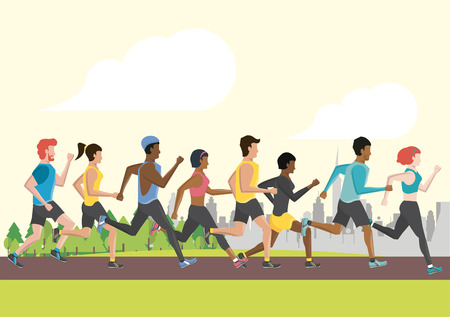 Fitness people running in the city park scenery vector illustration graphic design
