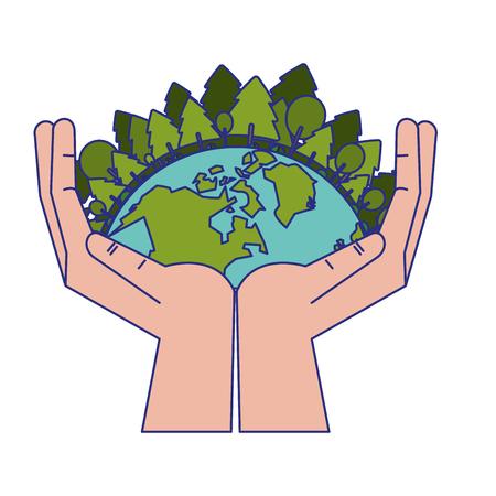 save world human hands symbol vector illustration graphic design