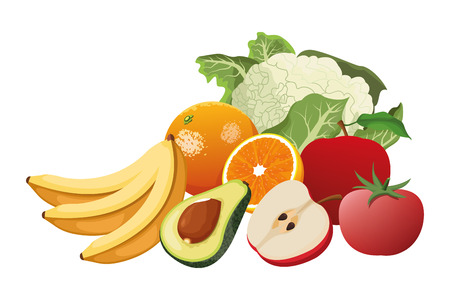 fruit and vegetables cartoon icons vector illustration graphic design