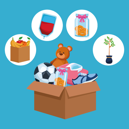 Charity and donation toys clothes money and food cartoons round icons vector illustration graphic design Çizim