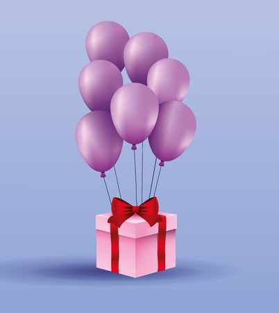 Romantic gift box present with balloons vector illustration graphic design Banque d'images - 123119878