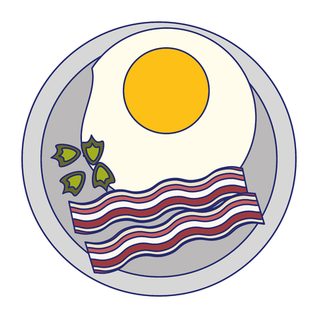 Fried egg and bacon on dish breakfast vector illustration graphic design Banco de Imagens - 123119918