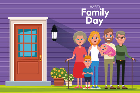 Happy family day outdoors from home scenery cartoons vector illustration graphic design