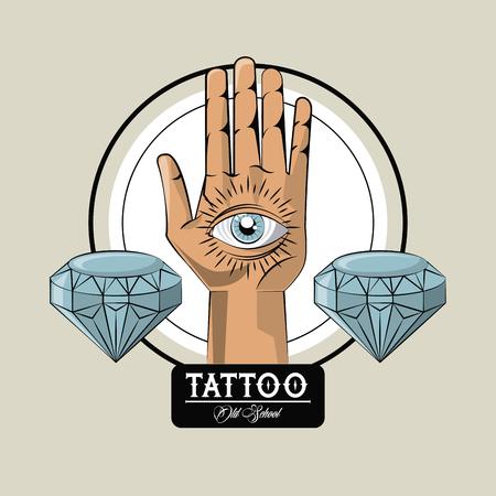 Tattoo studio old school drawings hand with eye and diamonds emblem Ilustração