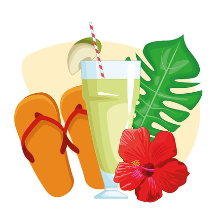 tropical drink with sandals and leaves icon cartoon vector illustration graphic design Stock Illustratie