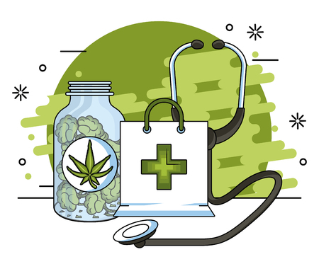 Cannabis medical natural medicine concept vector illustration graphic design Stock Illustratie