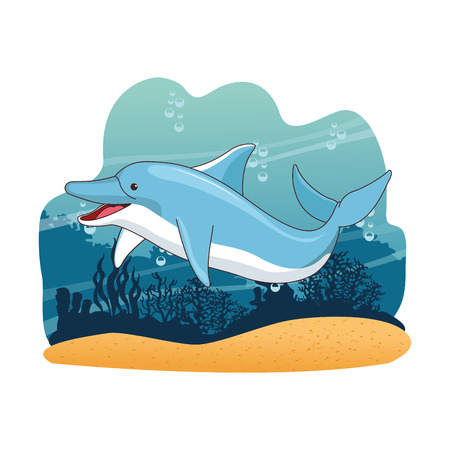 Dolphin in the sea cartoon scenery vector illustration graphic design Stock Illustratie