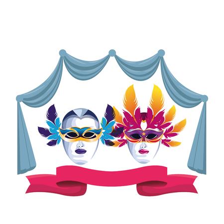 Máscaras con icono de plumas cortina de dibujos animados y cinta ilustración vectorial diseño gráfico
