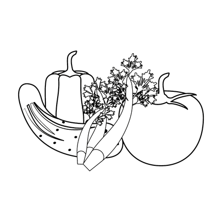 Fresh vegetables healthy food cartoon vector illustration graphic design Stock Illustratie