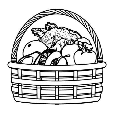 wicker basket with fruit and vegetables icon cartoon isolated black and white vector illustration graphic design  イラスト・ベクター素材