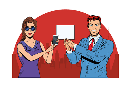 business couple with cellphone and signboard avatar cartoon character cityscape silhouette vector illustration graphic design