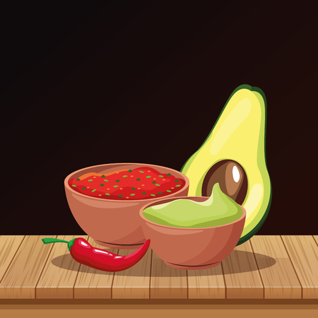 Mexican food guacamole and chilli on table cartoons vector illustration graphic design Çizim