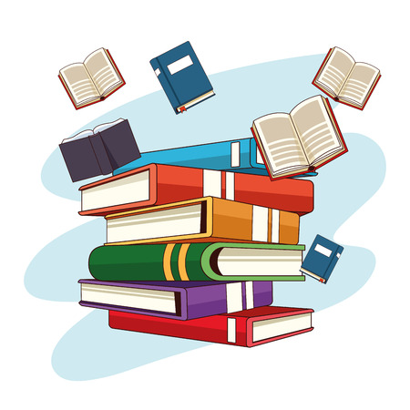 Books flying and stacked cartoons over blue splash background