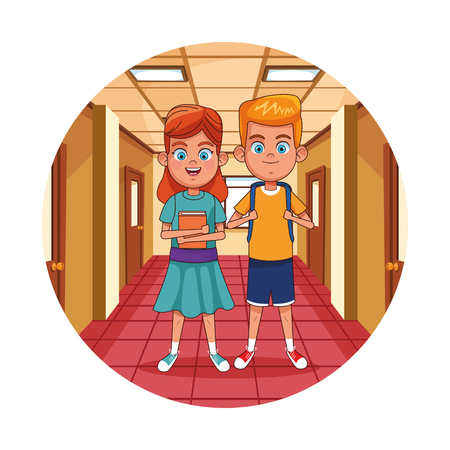 Kids in school hall with book cartoon round icon vector illustration graphic design