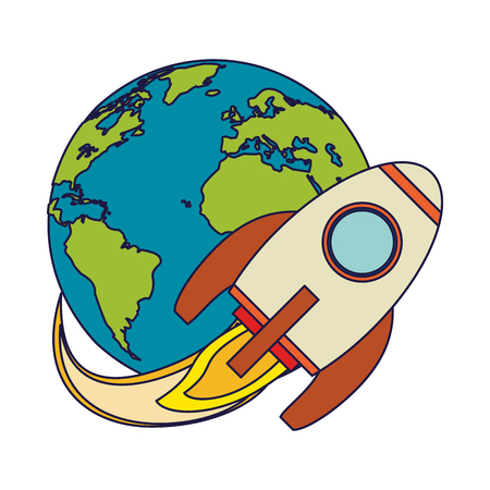 Spaceship flying around earth vector illustration graphic design vector illustration graphic design