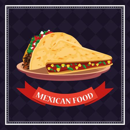 Mexikanische Lebensmittelkarte mit Tacos im Tellerkarikaturvektorillustrationsgrafikdesign Vektorgrafik